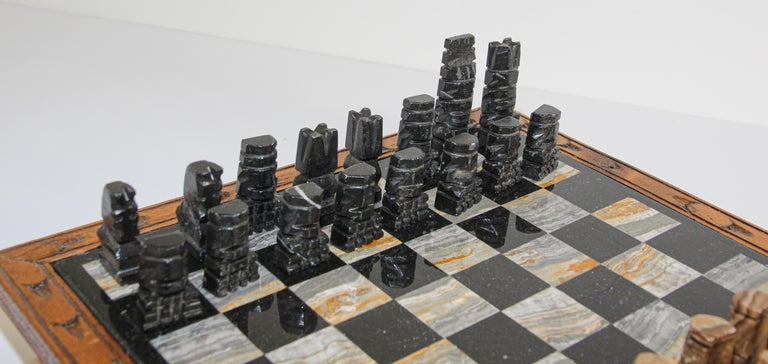 Hand-Carved Vintage Marble Chess Board with Hand Carved Black and White Onyx Chess Pieces