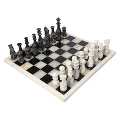 Vintage Marble Chess Board with Hand Carved Black and White Onyx Chess Pieces