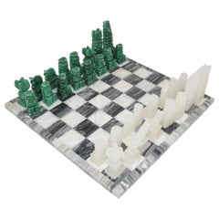 Vintage Marble Chess Board with Hand Carved Green and White Onyx Chess Pieces