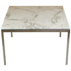 Vintage Marble Chrome Square Coffee Table by Florence Knoll, 1960s Midcentury