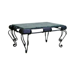 Vintage Marble Coffee Table, English, Iron Frame, Low, Late 20th Century