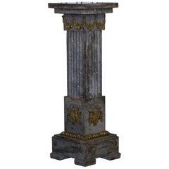 Vintage Marble Corinthian Pillar, Gilt Brass Decorative French Mounts Roman Look