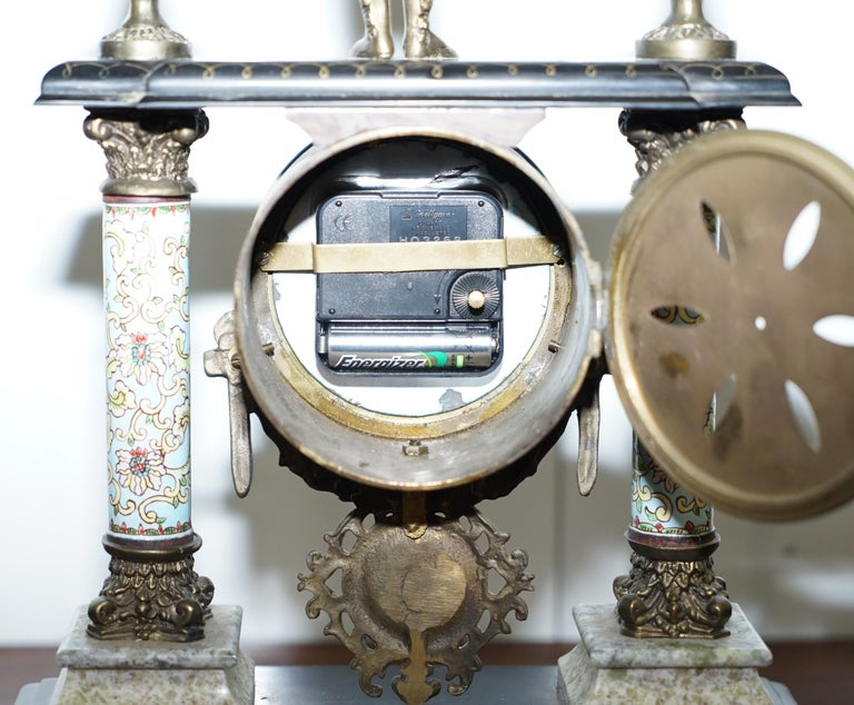 Vintage Marble Corinthian Pillar Mantle Clock with Bronzed Figures Ormolu Mounts For Sale 7