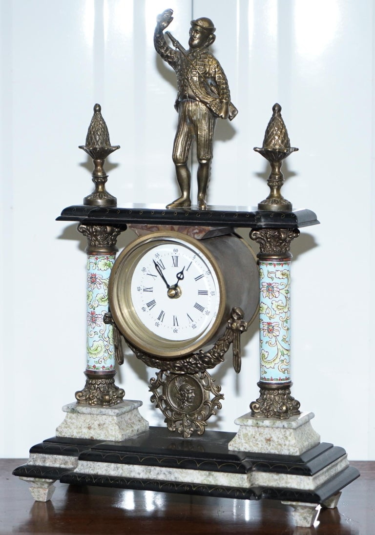 French Provincial Vintage Marble Corinthian Pillar Mantle Clock with Bronzed Figures Ormolu Mounts For Sale