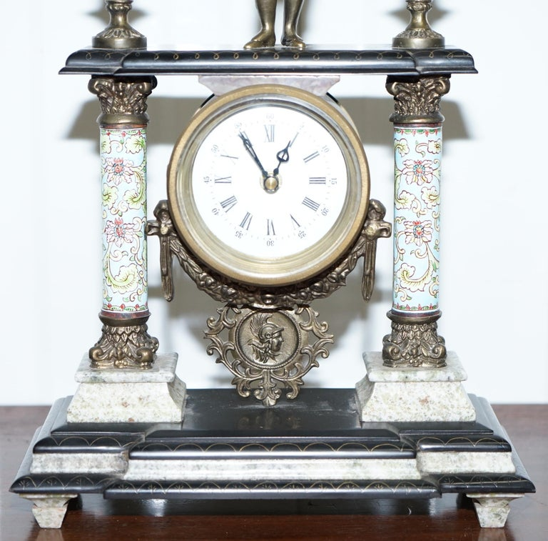 French Vintage Marble Corinthian Pillar Mantle Clock with Bronzed Figures Ormolu Mounts For Sale