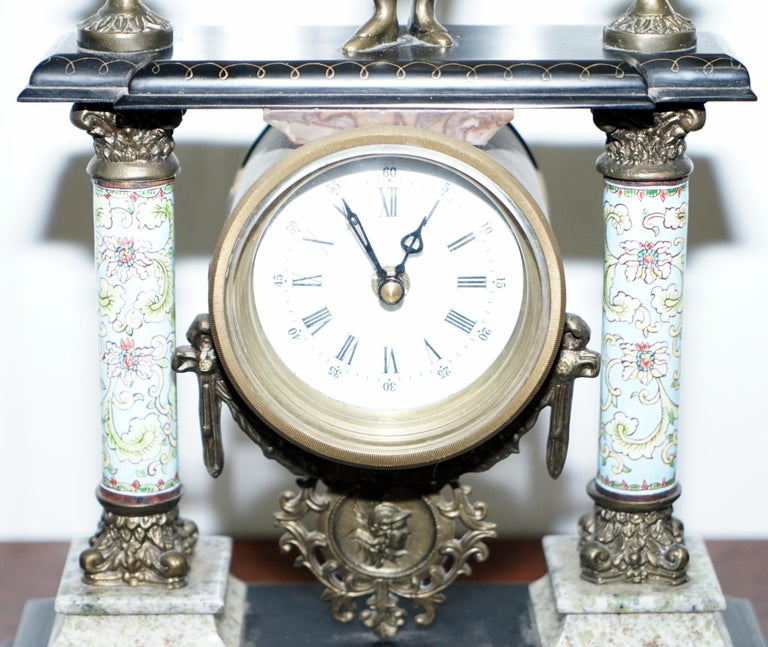 Vintage Marble Corinthian Pillar Mantle Clock with Bronzed Figures Ormolu Mounts For Sale 3