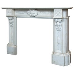 Vintage 19th c white carved Marble Mantel with medallions