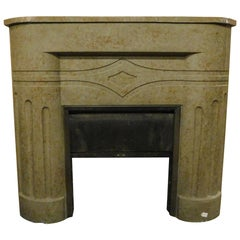 Vintage Marble Mantle Fireplace, Deco Style, Dove Gray Color, 1920, Italy