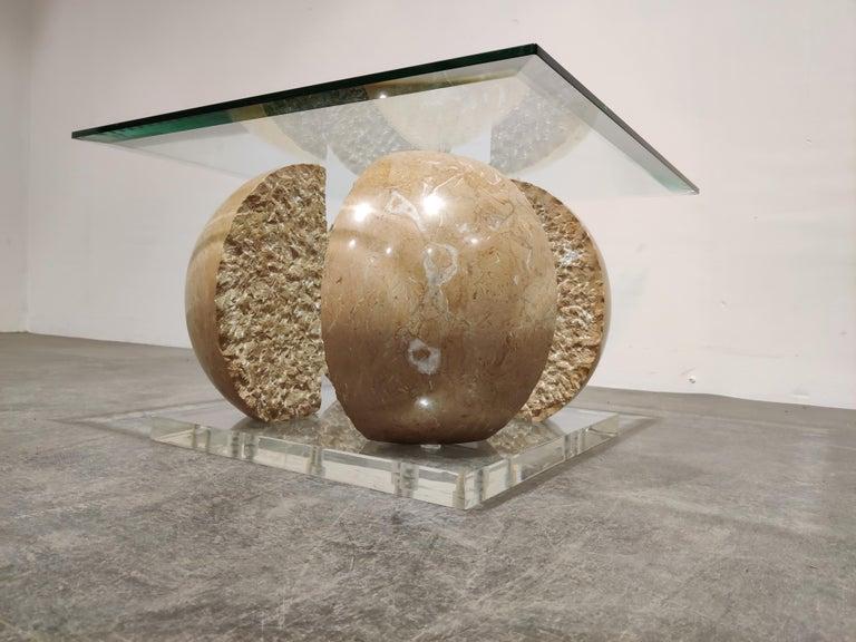 Italian Vintage Marble Sphere Coffee Table, 1970s For Sale