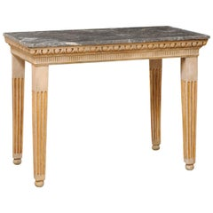 Vintage Marble-Top Console Table with Egg-n-Dart & Fluted Carved Embellishments