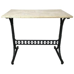 Vintage Marble Top Industrial Work Table with Iron Base