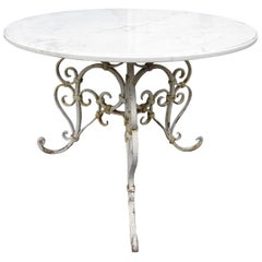 Vintage Marble-Top Patio Table