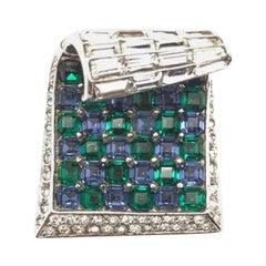 Vintage Marcel Boucher Sterling Silver Blue & Green Invisibly Set Glass Wave