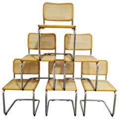 Vintage Marcel Breuer Cesca B32 Chairs by Fasem, Made in Italy, 1970s, Set of 6