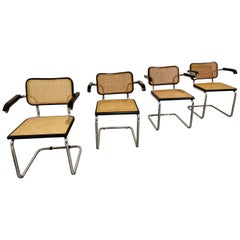 Vintage Marcel Breuer Cesca B64 Chairs, Made in Italy, 1970s 'Set of 4'