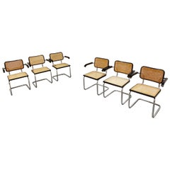Vintage Marcel Breuer Cesca B64 Chairs, Made in Italy, 1970s 'Set of 6'