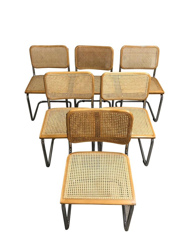 Bauhaus Vintage Marcel Breuer Cesca Chairs, Made in Italy, 1970s