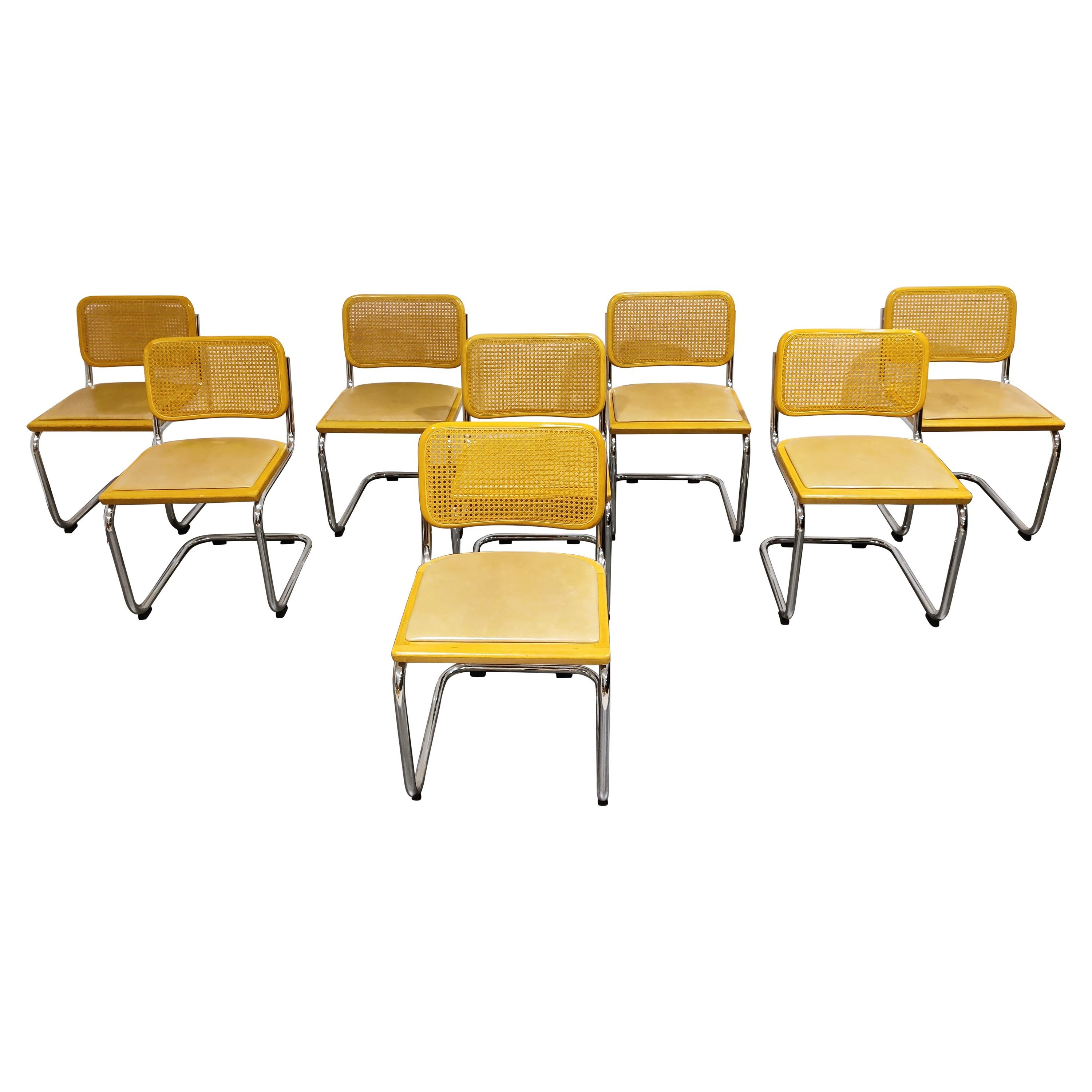 Vintage Marcel Breuer Cesca Style Chairs Set of 8, Made in Italy, 1970s