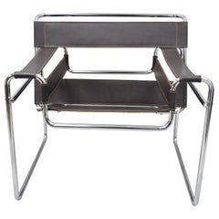 Vintage Marcel Breuer Wassily Style Brown Leather Sling Chrome Lounge Chair