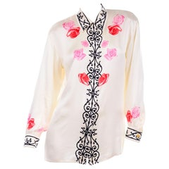 Vintage Margaretha Ley for Escada Ivory Silk Blouse With Pink & Red Roses