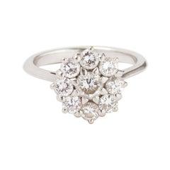 Vintage Marguerite 1.05 Carat Diamonds 18 Carat White Gold Ring