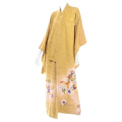 Vintage Marigold Yellow Silk Iro Tomesode Kimono Embroidered and Hand Painted