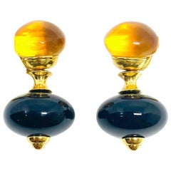 Vintage Marina B Citrine and Onyx Dangle Earrings