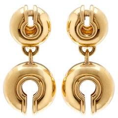 Vintage Marina B. Gold Double Circle Drop Earrings
