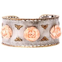 Vintage Mario Buccellati Coral Rose 18 Karat Wide Cuff Bracelet