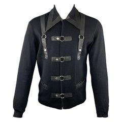 Vintage MARIO RICCI Size M Black Wool Snaps Long Sleeve Shirt