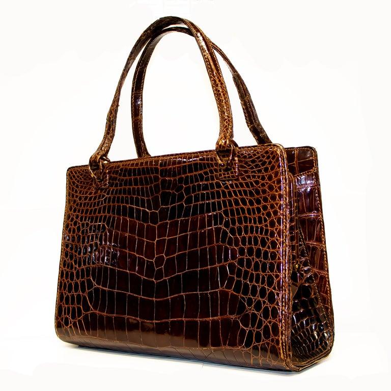 Black Vintage Mark Cross Chestnut Crocodile Handbag