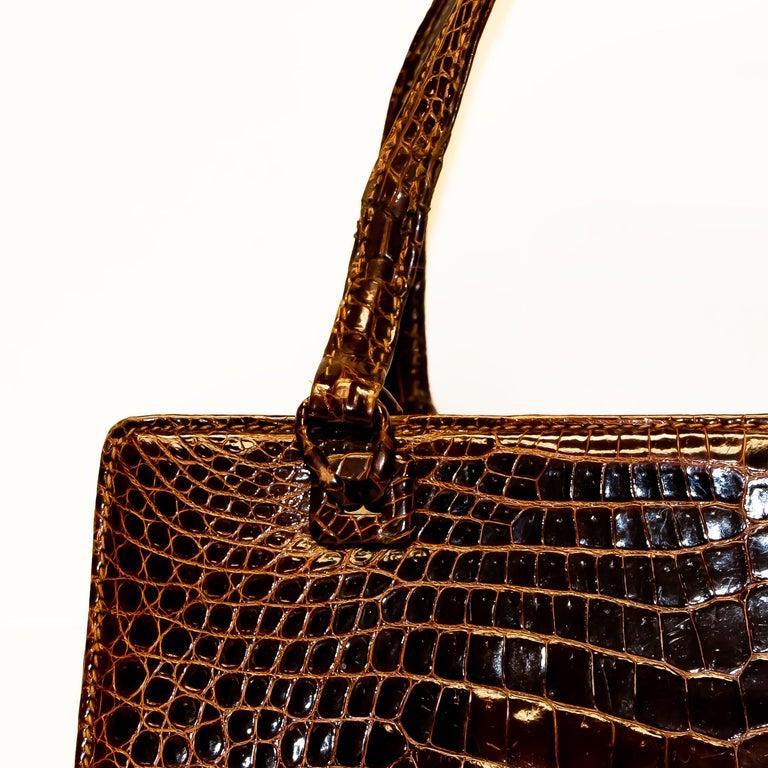 Vintage Mark Cross Chestnut Crocodile Handbag In Good Condition In Rancho Santa Fe, CA