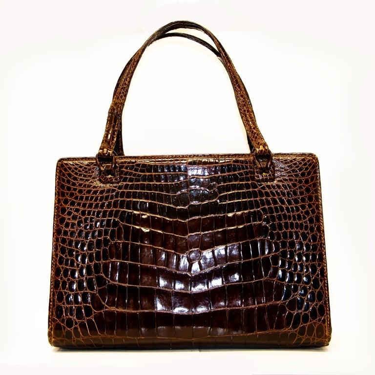 Women's or Men's Vintage Mark Cross Chestnut Crocodile Handbag