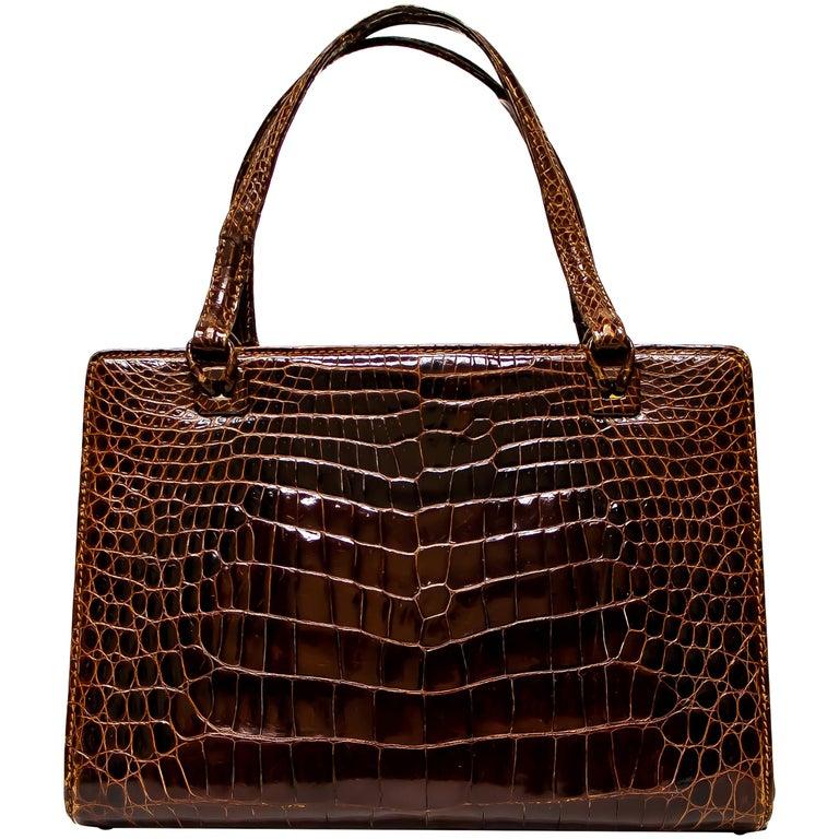 Vintage Mark Cross Chestnut Crocodile Handbag