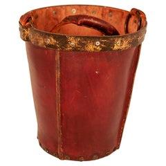 Vintage Maroon Leather Waste Basket