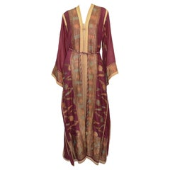 Vintage Maroon Morrocan Style Caftan Dress and Cover Set