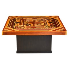 Vintage Marquetry Folk Art Coffee or Game Table with Masonic Symbols