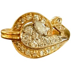 Vintage Marquise and Brilliant Cut Diamond 14 Karat Yellow Gold Fashion Ring