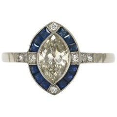 Vintage Marquise Diamond Engagement Ring 1 Carat Art Deco Inspired Sapphire Halo