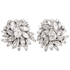 Vintage Marquise Diamond Floral Motif Platinum Clip-On Earrings