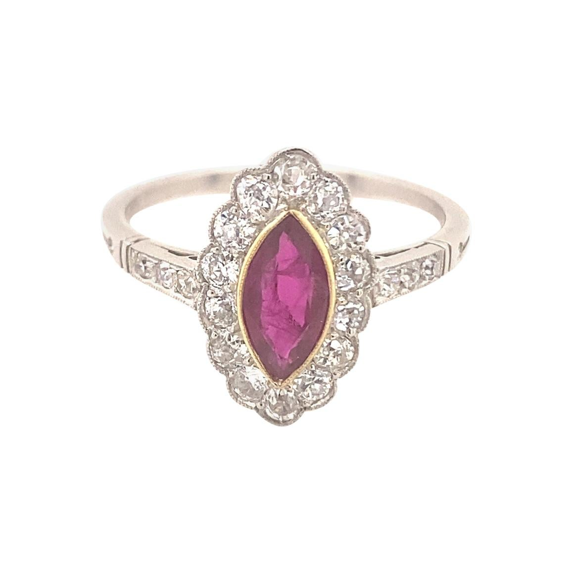 Vintage Marquise Ruby Diamond Platinum Ring