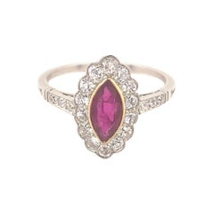 Vintage Marquise Ruby Diamond Platinum Ring