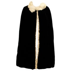 Vintage Marshall and Snelgrove Black Velvet Cape with Fur Lining.