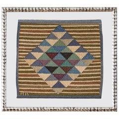 "Vintage Märta Måås-fjetterström Mr ""Mosaikrutan"" Wall Tapestry, Sweden, 1950s"