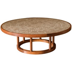 Vintage Martz Ceramic Tile and Walnut Pedestal Coffee Table