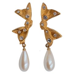 Vintage Marvella Pierced Earrings With Rhinestones And Faux Pearls 1930's