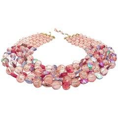 Vintage Marvella Pink Aurora Borealis Glass Statement Collar 1950s