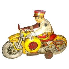 Vintage Marx Tin Litho Motorcycle Cop Windup Toy C1948