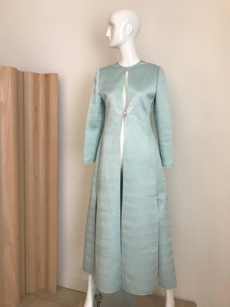 Vintage Mary McFadden Couture Light Blue Silk Coat For Sale 5