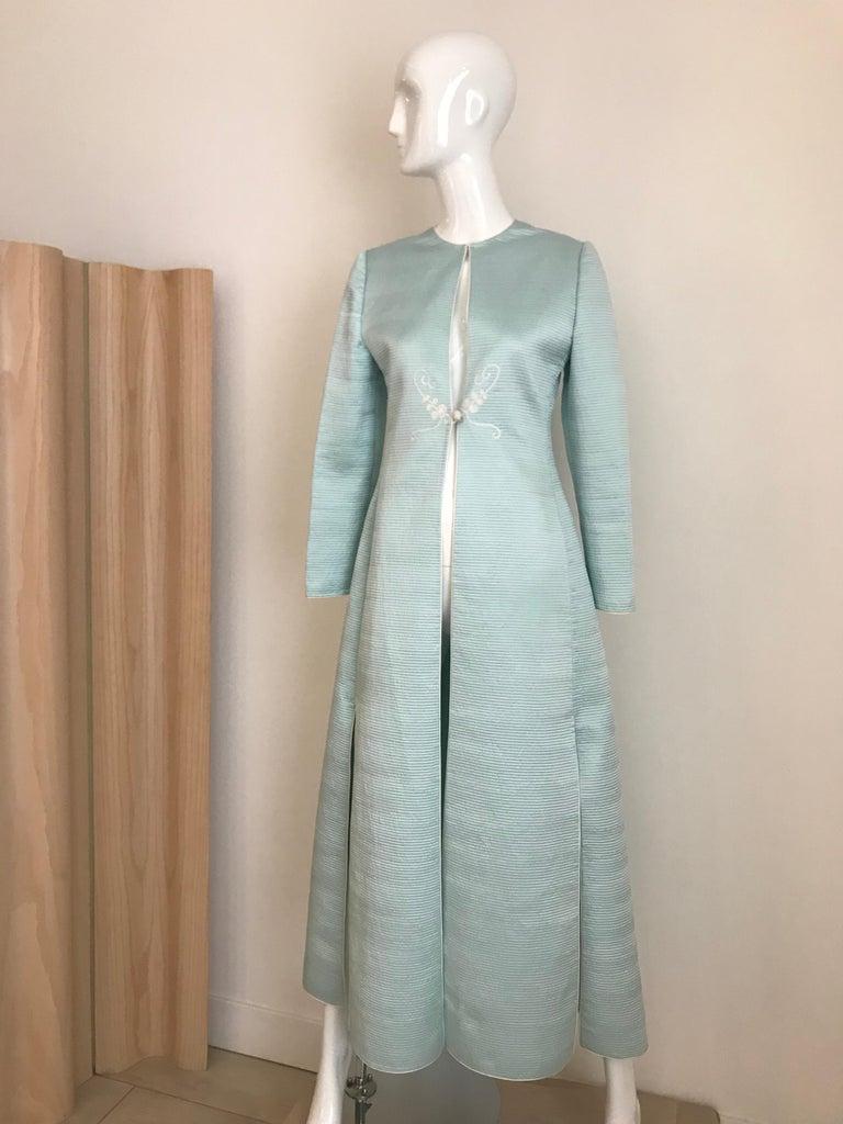 Vintage Mary McFadden Couture Light Blue Silk Coat 5